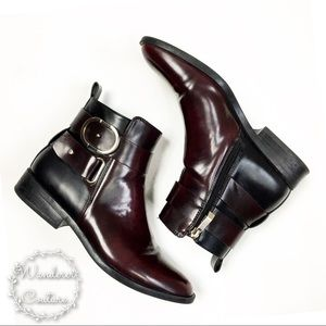 Zara Black & Burgundy Ankle Boots